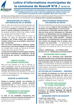Lettre hebdomadaire d'informations n°8