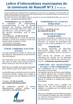 Covid-19/Lettre d'informations N°2