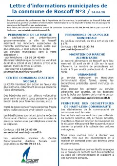 Covid-19/Lettre d'informations N°3