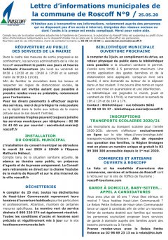 Lettre hebdomadaire d'informations n°9