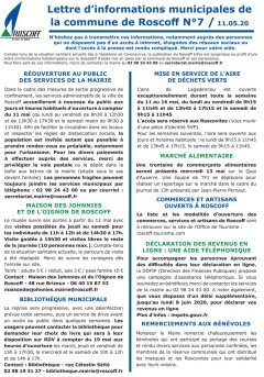 Lettre hebdomadaire d'informations n°7